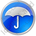 Umbrella Circle Blue Icon, PNG/ICO, 128x128