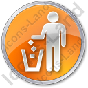 Waste Container Circle Orange Icon, PNG/ICO, 128x128