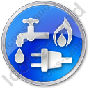 Water Gas Electricity Circle Blue Icon, PNG/ICO, 128x128