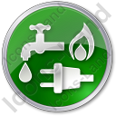 Water Gas Electricity Circle Green Icon, PNG/ICO, 128x128