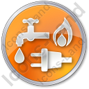 Water Gas Electricity Circle Orange Icon