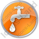Water Tap Circle Orange Icon, PNG/ICO, 128x128