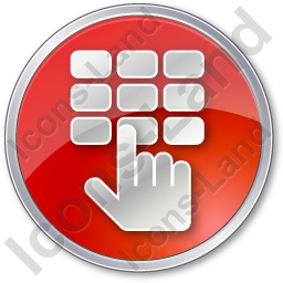 ATM Keypad Circle Red Icon, PNG/ICO, 256x256