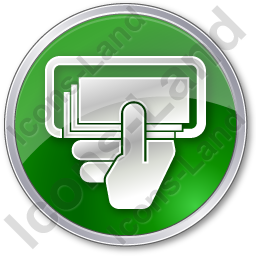 ATM Money In Hand Circle Green Icon, PNG/ICO, 256x256