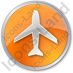 Airport Circle Orange Icon, PNG/ICO, 256x256