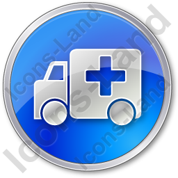 Ambulance Circle Blue Icon, PNG/ICO, 256x256