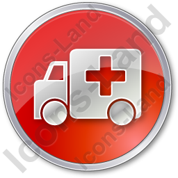 Ambulance Circle Red Icon, PNG/ICO, 256x256