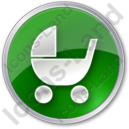 Baby Carriage Circle Green Icon