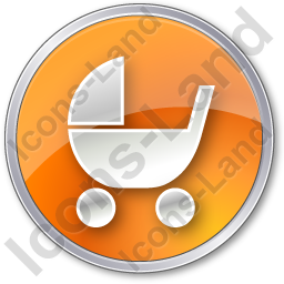 Baby Carriage Circle Orange Icon