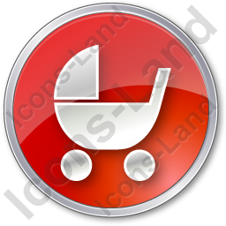 Baby Carriage Circle Red Icon, PNG/ICO, 256x256