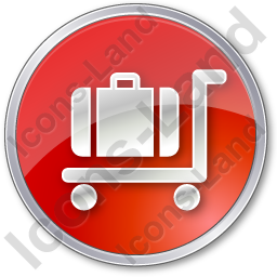 Baggage Cart Circle Red Icon, PNG/ICO, 256x256