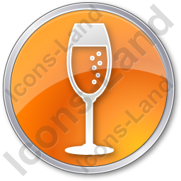 Bar Champagne Circle Orange Icon