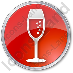 Bar Champagne Circle Red Icon