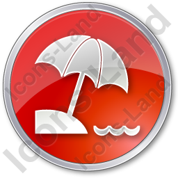 Beach Circle Red Icon