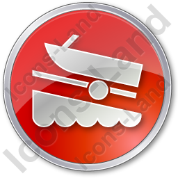 Boat Ramp Circle Red Icon