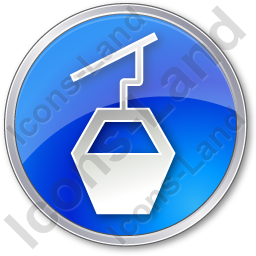 Cable Car Circle Blue Icon