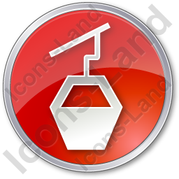 Cable Car Circle Red Icon