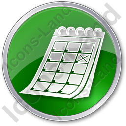 Calendar Circle Green Icon, PNG/ICO, 256x256
