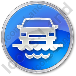 Car Ferry Circle Blue Icon