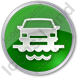 Car Ferry Circle Green Icon