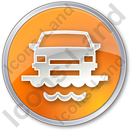 Car Ferry Circle Orange Icon