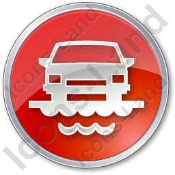 Car Ferry Circle Red Icon