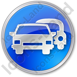 Car Rental Service Circle Blue Icon