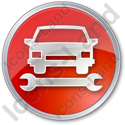 Car Repair Circle Red Icon, PNG/ICO, 256x256