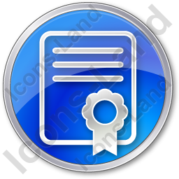 Certificate Circle Blue Icon