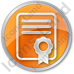 Certificate Circle Orange Icon