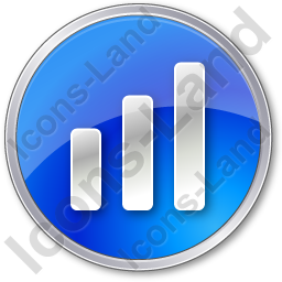 Chart Bars Circle Blue Icon