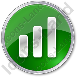 Chart Bars Circle Green Icon