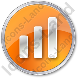 Chart Bars Circle Orange Icon