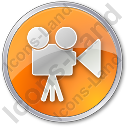 Cinema Circle Orange Icon, PNG/ICO, 256x256