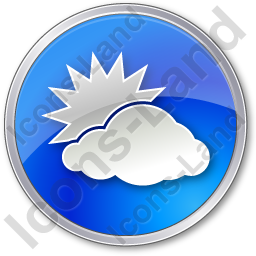 Cloudy Partly Circle Blue Icon, PNG/ICO, 256x256