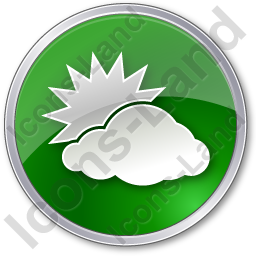 Cloudy Partly Circle Green Icon, PNG/ICO, 256x256