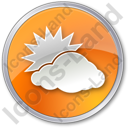 Cloudy Partly Circle Orange Icon, PNG/ICO, 256x256