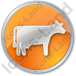 Cow Circle Orange Icon, PNG/ICO, 256x256