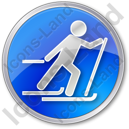 Cross Country Skiing Circle Blue Icon