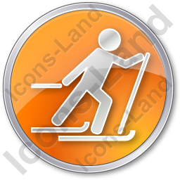 Cross Country Skiing Circle Orange Icon