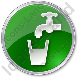 Drinking Water Tap Circle Green Icon, PNG/ICO, 256x256