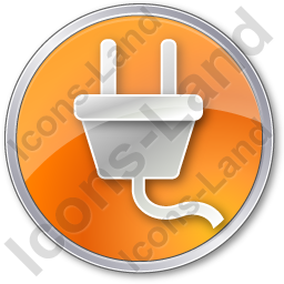 Electricity Power Plug Circle Orange Icon