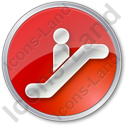 Escalator Circle Red Icon