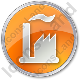 Factory Circle Orange Icon
