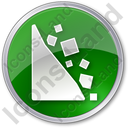 Falling Rocks Circle Green Icon