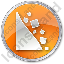 Falling Rocks Circle Orange Icon
