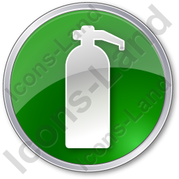 Fire Extinguisher Circle Green Icon