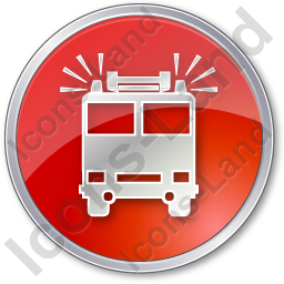 Fire Station Circle Red Icon, PNG/ICO, 256x256