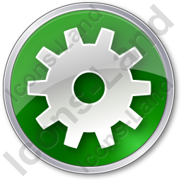 Gear Circle Green Icon, PNG/ICO, 256x256