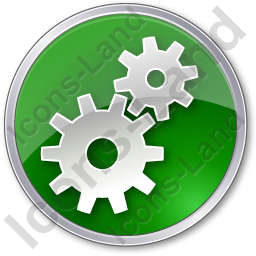 Gears Circle Green Icon, PNG/ICO, 256x256